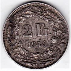 Elvetia 2 franci francs 1944 argint , patina , necuratata
