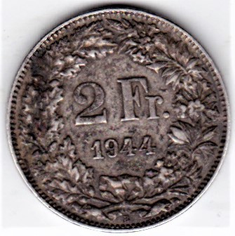 Elvetia 2 franci francs 1944 argint , patina , necuratata foto