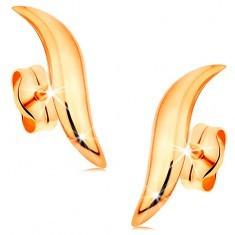 Cercei din aur de 14K - val lucios cu capete înguste și suprafață rotunjită