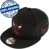 Sapca New Era Chicago Bulls - originala - flat brim - fullcap, 6 7/8, 7 1/4, 7 1/8, 7 3/8, Negru