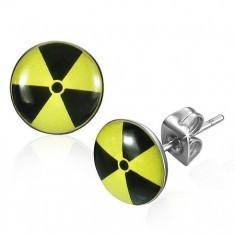 Cercei rotunzi din oțel - simbol nuclear cu galben și negru