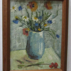 2-TABLOU-VAZA CU FLORI-inramat,ulei pe placaj,vintage, Natura statica, Realism