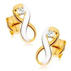 Cercei din aur 9K - simbolul infinitului în două culori cu zirconiu transparent, placat cu rodiu