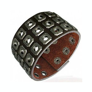 Brățară maro din piele - capse metalice