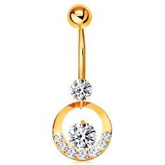 Piercing pentru buric din aur galben 14K - cerc decorat cu zirconii transparente