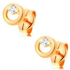 Cercei din aur galben 585 - diamant transparent în cerc mic