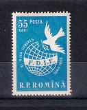 ROMANIA 1958 - FEDERATIA FEMEILOR DEMOCRATE - LP 455, Nestampilat
