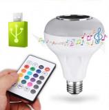 Bec LED Multicolor Soclu E27 Cu Muzica Telecomanda Si USB