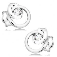 Cercei din aur alb 585 - diamant transparent, strălucitor, cerc mic și mare