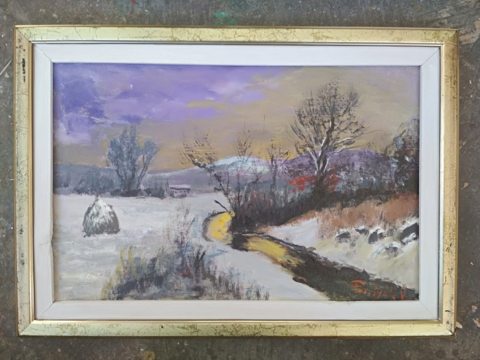 Pictura / tablou peisaj de iarna cu capita de fan - de Podolyak Vilmos