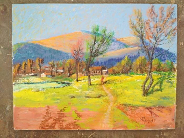 Pictura / tablou peisaj - amurg in munti -de Podolyak Vilmos