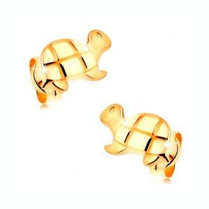 Cercei cu șurub realizați din aur 585 - țestoasă lucioasă cu detalii gravate