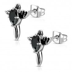 Cercei din oțel - cruce patinată cu zirconiu negru și aripi