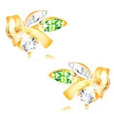 Cercei din aur 585 - ramură cu frunze, smarald verde, diamant transparent
