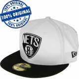 Sapca New Era Brooklyn Nets - originala - flat brim - fullcap, 7, Alb