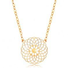 Colier din aur galben 14K - floare rotundă, lanț strălucitor