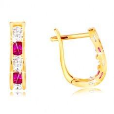 Cercei din aur galben de 14K - arcuri, zirconii roz și transparente