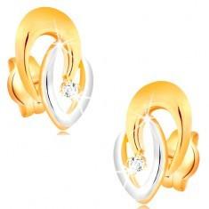 Cercei din aur 14K - potcoave unite bicolore și un diamant strălucitor transparent