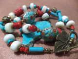 Colier tip tibetan - coral, turcoaz, os, bronz si margele hand made Nepal