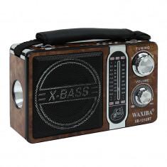 Radio portabil AM/FM/SW, MP3, USB, SD, microSD, lanterna, x-bass, Waxiba