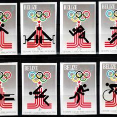 Belize 1979, Mi #432-439 B, nedant., Olimpiada Moscova 1980, cota 75,- €! RARE!