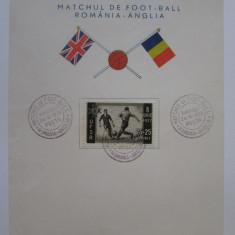 Rar! Carton filatelic 24-V-1939 cu meciul de fotbal Romania-Anglia/155 x 120 mm