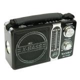 Radio portabil AM/FM/SW, mp3 player, USB, microSD, lanterna, x-bass, negru