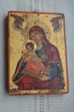 Icoana bizantina veche / Icoana bizantina pictata cu semnatura / foita aur