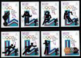 Belize 1979, Mi #443-450 B, nedant., Olimpiada L Placid 1980, cota 75,- €! RARE!, Sport, Nestampilat