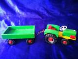 Tractoraş de lemn. Jucarie ecologica din lemn, tractor cu remorca
