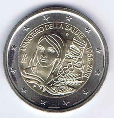 ITALIA moneda 2 euro comemorativa 2018 - Ministerul Sănătății din Italia, UNC foto