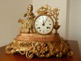 """Pendula,ceas de semineu,bronz aurit,nemtesc,statueta """"Fetita cu miel"""""""