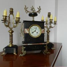 Pendula,garnitura ceas semineu cu sfesnice, JAPY FRERES 1870,garantie