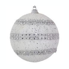 Set de 6 globuri mari albe, model sirag dubli cristale, 6 cm