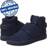 Pantofi sport Adidas Originals Tubular Invader Strap pentru barbati - originali, 43 1/3, 44, Albastru, Piele intoarsa