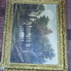 Tablou vechi pictat pe panza trasa pe lemn,rama masiva originala,Tp.GRATUIT