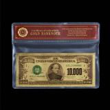 SUA - 10.000 DOLARI 1928 - BANCNOTA POLYMER (PLASTIC) PLACATA CU AUR 24K