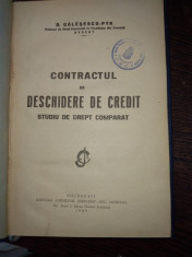 Contractul de deschidere de credit- studii de drept comparat- Galesescu Pik foto
