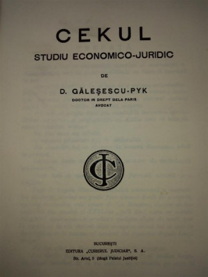 Cekul- studiu economico juridic- Galesescu Pik foto