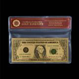 1 DOLAR 1995 S.U.A. - BANCNOTA POLYMER (PLASTIC) PLACATA CU AUR 24K