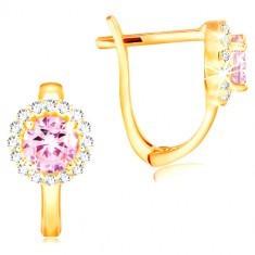 Cercei din aur galben de 14K - zirconiu roz în contur de zirconii transparente