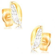 Cercei din aur de 14K - bob bicolor cu zirconii și decupaj