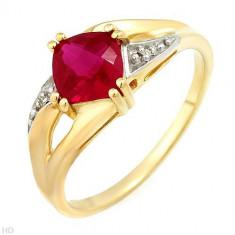 Minunat inel cu diamante 1.26ctw și Ruby creat în aur galben -, Nespecificat, 46 - 56