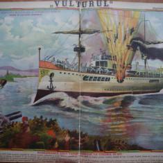 Ziarul Vulturul , nr. 26 / 1906 , cromolitografie ; Bombardarea unui vas turcesc