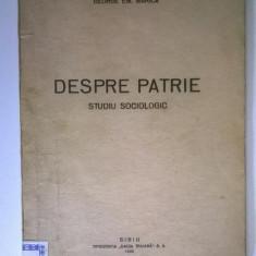 George Em. Marica - Despre patrie studiu sociologic (1942, Cu atuograf)