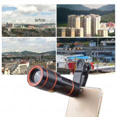 Lentila telescop cu clips Zoom 12X pt orice telefon mobil iPhone Samsung Huawei