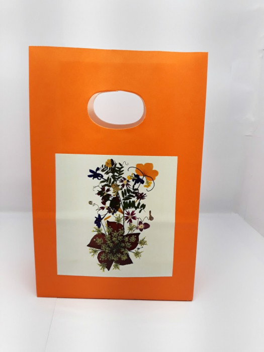 Set 5 Pungi hârtie portocalie, 14x7x21 cm, model de flori, PH 1b-8b