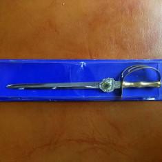 Stilet decorativ, forma de sabie, metal, 19cm, in cutie,