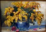 Tablou, Constantin Paun, Vas cu flori galbene, ulei pe carton, 24x35 cm
