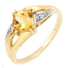 Inel de Aur 10K cu 0.66ctw pietre prețioase - diamante autentice și citrin, Nespecificat
